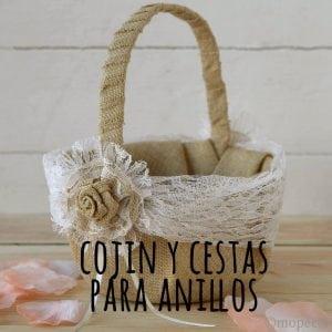 Cojin y cestas anillos boda