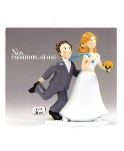 gura para pastel boda -Sí o Sí- tirando de la corbata 19cm.