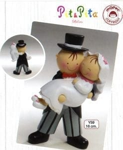 Figura para pastel Pit&Pita novia en brazos 15,5cm