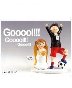 Figura para pastel novios futbolista Pop & Fun 14,5x19,5 cm