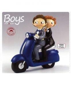 Figura para pastel Boys Pop & Fun en moto 17cm