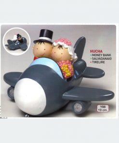 Figura para pastel-hucha novios Pit&Pita avión 11cm