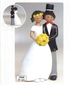 .Figura para pastel novios con bouquet 21cm.