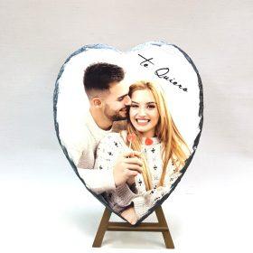 Portafotos pidra en forma corazón personalizada