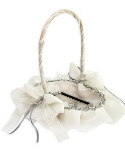 Cestacinta plateada y lazos con bandeja. Complemento original para tu boda.
