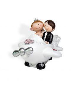 FIGURA RESINA PAREJA NOVIOS AVION, detalle original de boda.