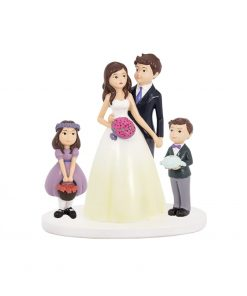 FIGURA RESINA PAREJA CON NIÑOS, detalle original de boda.