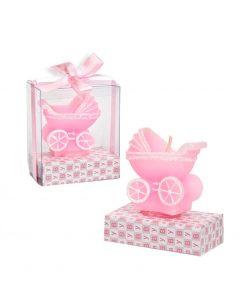 Vela carro rosa, regalo original de bautizo.