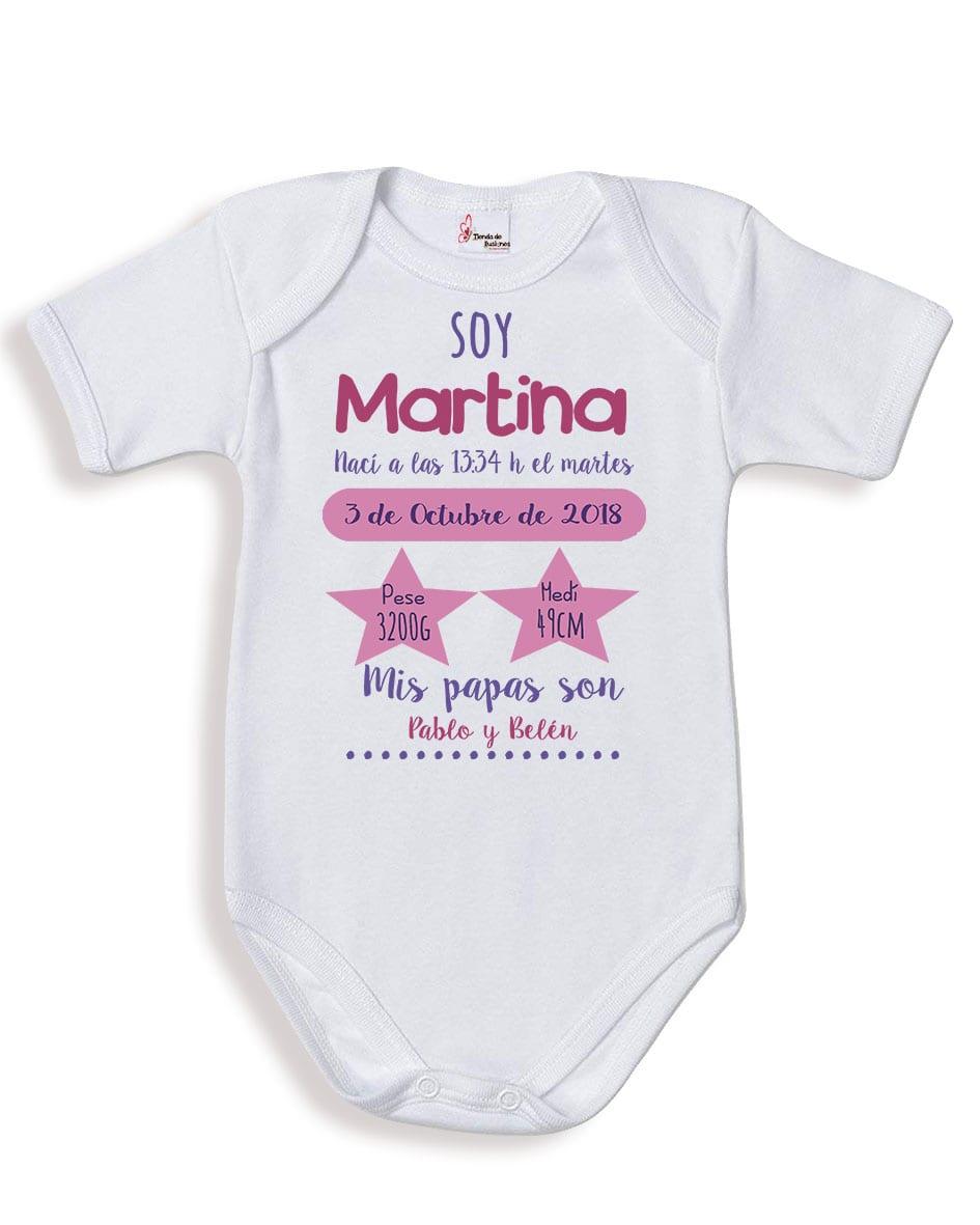 4786cbe8c82c5 Body bebé niña personalizado datos nacimiento - tiendadeilusiones