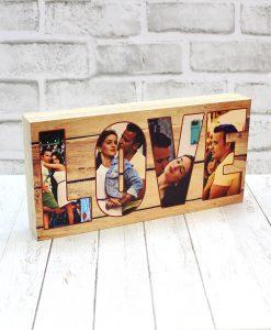 Taco Madera Love chopo de 30x15 x3 cm con cuatro fotos