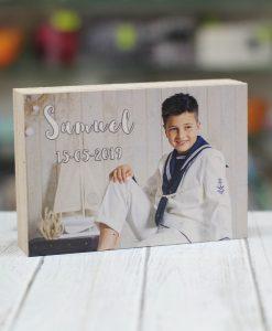 Taco de madera personalizado con foto