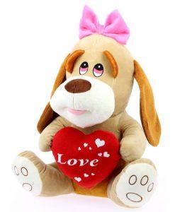 Peluche perrita lazo rosa corazón 42cm. 5267-BIMAR