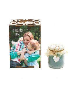 Porta vela de madera personalizada con foto
